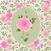 Pink rose pattern background vector 03 free