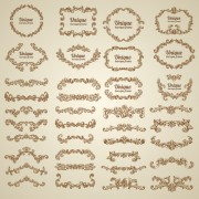 Vintage floral decorative borders and frames vector free