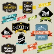 Vintage labels with stickers and ribbons vector graphics 04 free