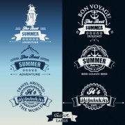 White with dark blue summer travel labels vector 02 free