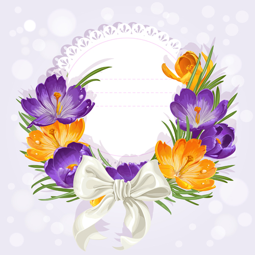 Purple flower with bow vector cards 03 free