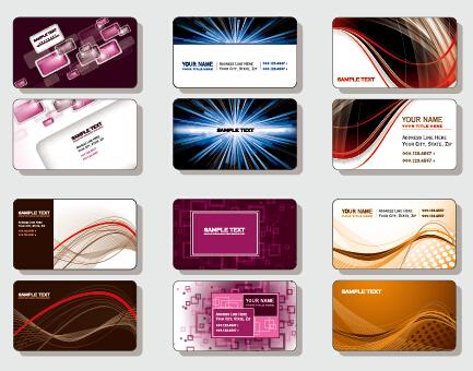Stylish business cards creative design set vector 05 free