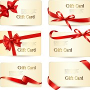Exquisite ribbon bow gift cards vector set 16 free