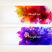 Splash watercolor with flower banner vector 03 free