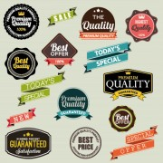 Vintage labels with stickers and ribbons vector graphics 01 free