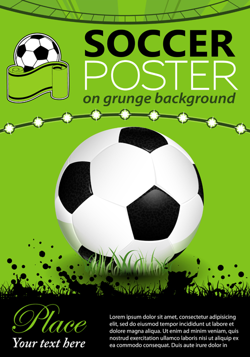 delicate soccer poster background vector graphics 02 free