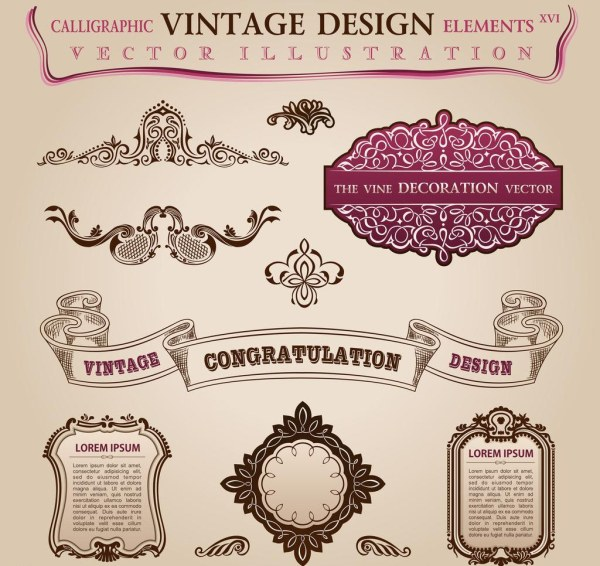 elegant calligraphic with labels vector set free free download