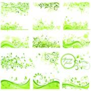 Floral green ornaments vector set 03 free