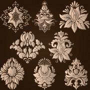 Ornamental floral damask elements vector 04 free