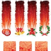 Red style holiday banner vector graphics free