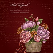 Retro background with floral vector 01 free