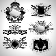 Vintage black and white badge with heraldry vector set 06 free