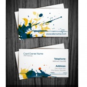 Watercolor splash business cards vector graphic 02 free