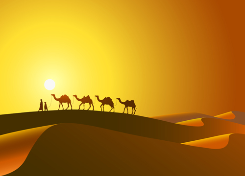 desert and camel background vector free
