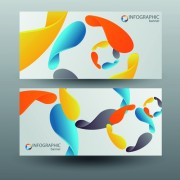 Colored abstract infographics banner vector 01 free