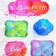 Creative watercolor labels vector 02 free