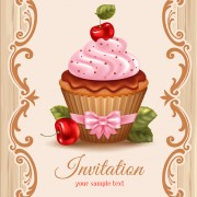 Cute cupcakes vector invitation cards 02 free