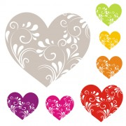Heart with floral ornament vector free