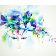Watercolor floral girls vector background 01 free