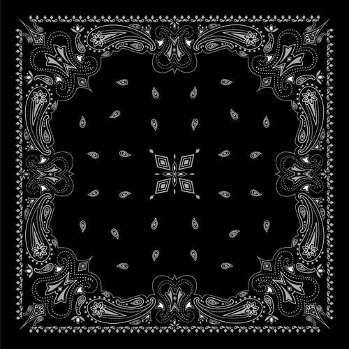 black with white bandana patterns design vector 04 free free download