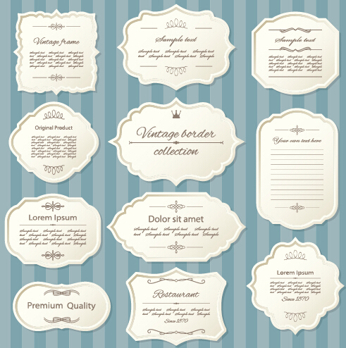 Blank retro labels cards vector 02 free