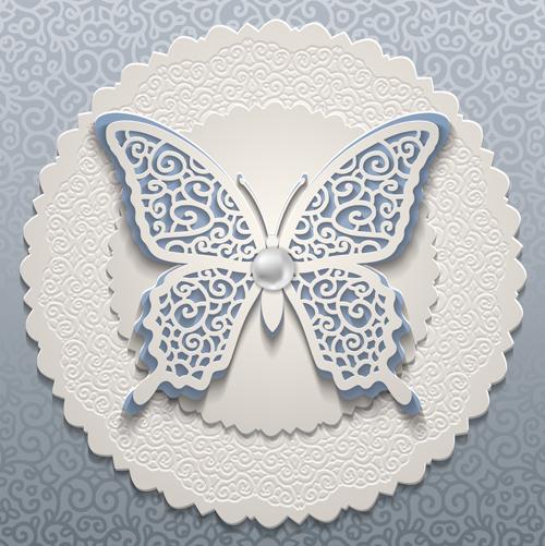 Elegant butterflies vintage card vector  03 free