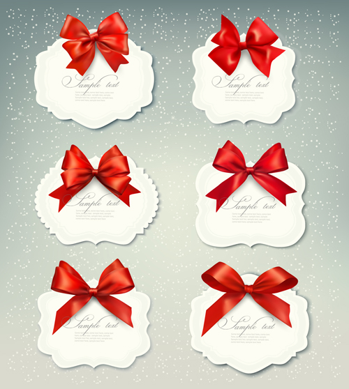 Exquisite ribbon bow gift cards vector set 23 free
