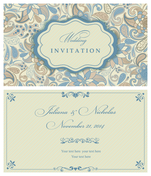 Light Color Floral Wedding Invitations Vector 02 For Free
