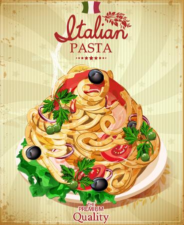 retro italian pasta menu cover vector 02 free free download