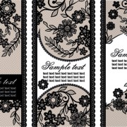 Black lace floral banner vector 02 free