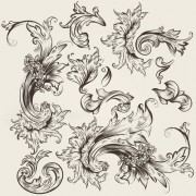 Floral swirl ornament design vector 03 free
