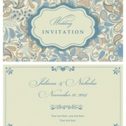 Light color floral wedding invitations vector 02 free