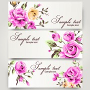 Retro rose with banner design vector free