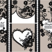 Black lace floral banner vector 01 free