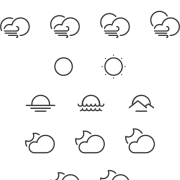 Cute weather line icons vector free