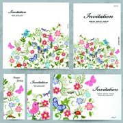 Floral and flower Invitation cards vector graphic 02 free