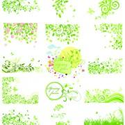 Floral green ornaments vector set 04 free