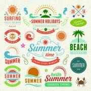 Vintage summer elements labels vector 02 free
