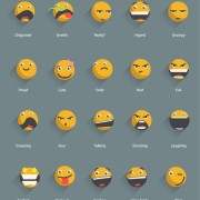 Yellow shadowed emoticons icons vector free