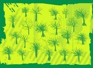 Grunge Trees vector free