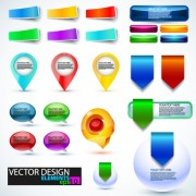 Shiny button and web labels vector free