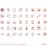 Red outline web icons free