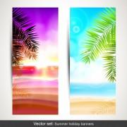 Summer holidays banner vector set 01 free