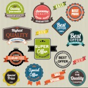 Vintage labels with stickers and ribbons vector graphics 05 free