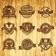 Brown retro butchery labels vector free