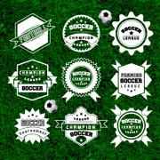 Creative football labels design vector graphics 03 free