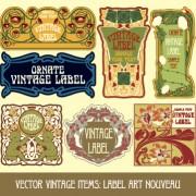 Ornate vintage labels creative vector set 09 free