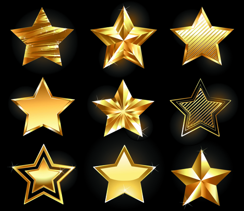 shiny golden stars vector graphic free free download