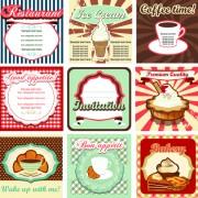 Common vintage labels vector set 05 free