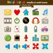 Hand drawn media and web vector icons free